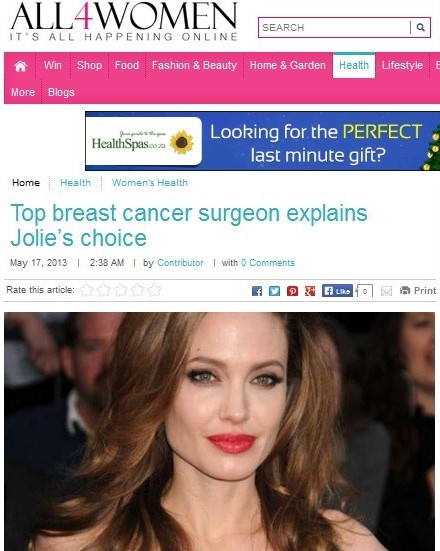 Hollywood actress Angelina Jolie made headlines when she disclosed her genetic risk of breast cancer